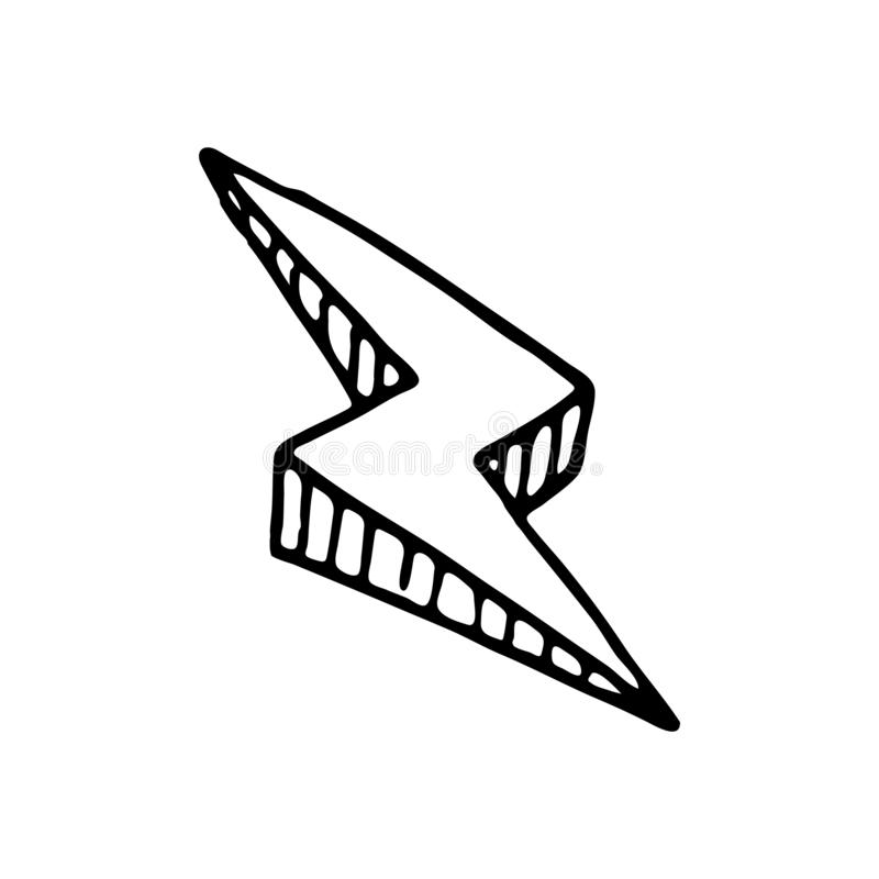 手拉的3D闪电乱画象 手拉的黑剪影 信号 库存例证