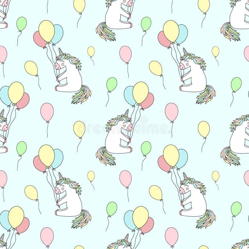 手拉的cartoony微笑的独角兽的无缝的样式与气球的 传染媒介背景影像为假日,婴儿送礼会,印刷品, 库存例证