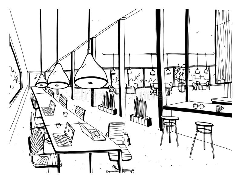 手拉的coworking的群 内部现代的办公室,露天场所 与计算机、膝上型计算机、照明设备和地方的工作区 皇族释放例证