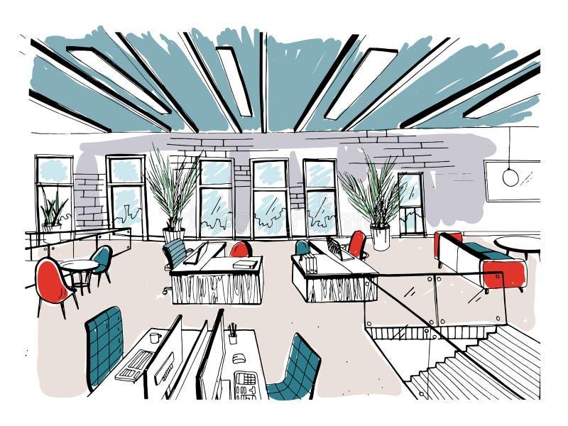 手拉的coworking的群 现代办公室内部,露天场所 与计算机、膝上型计算机、照明设备和地方的工作区 皇族释放例证