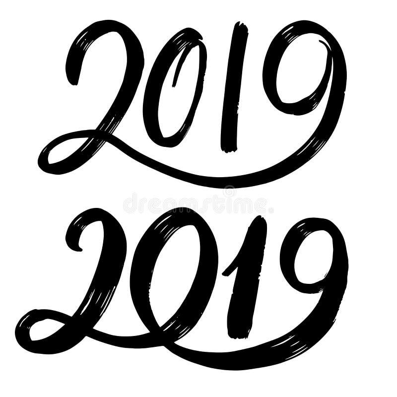 手拉的fugures 2019年,新年的标志 对设计卡片,海报,横幅,商标,铅印图片