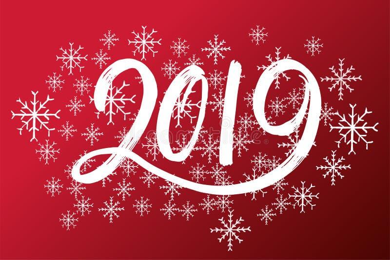 手拉的fugures 2019年,新年的标志 新年第2019年 库存例证