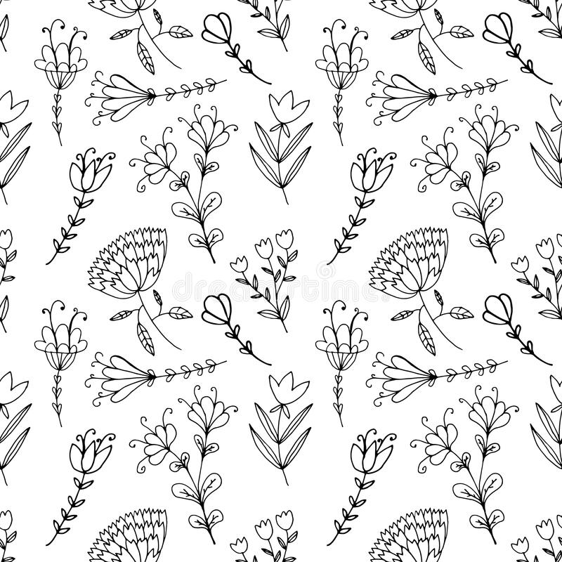 手拉的scrapbooking的乱画葡萄酒花卉无缝的样式 库存例证