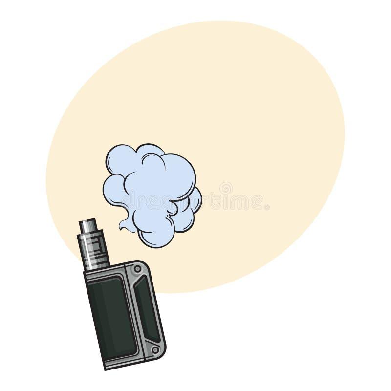 手拉的vape,有烟云的,剪影例证vaping的设备 库存例证