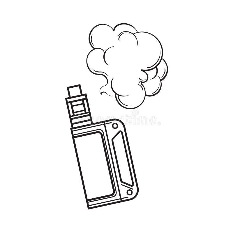 手拉的vape,有烟云的,剪影例证vaping的设备 皇族释放例证