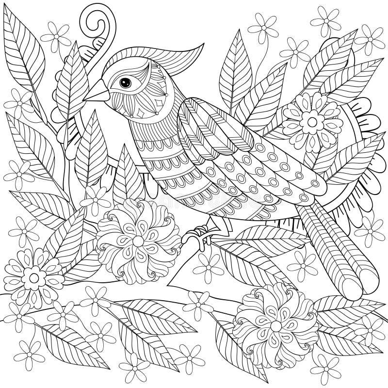 手拉的zentangle鸟坐广告的开花的树枝 皇族释放例证