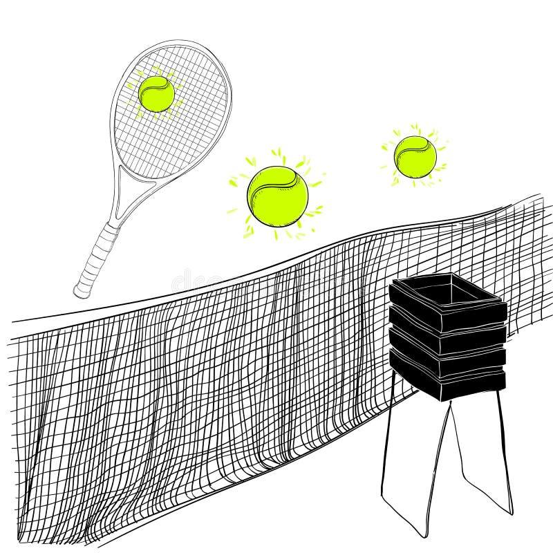 手拉网球套球拍,球、网球的栅格和的篮子,乱画的例证反对 体育存货为 皇族释放例证