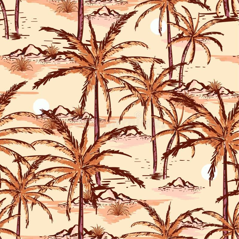 手拉美丽的葡萄酒和线剪影夏天海岛, beac 向量例证