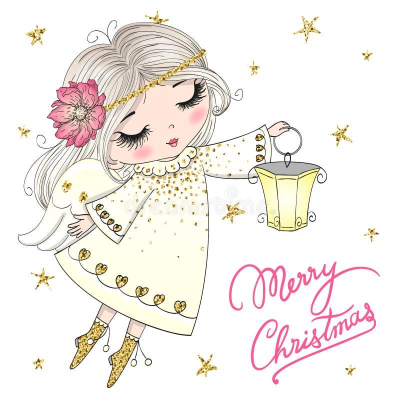 手拉美丽逗人喜爱有花的矮小的个圣诞节天使女孩 皇族释放例证