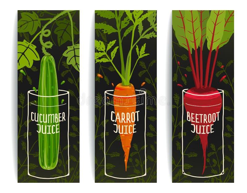 手拉节食的红萝卜黄瓜甜菜的汁 向量例证