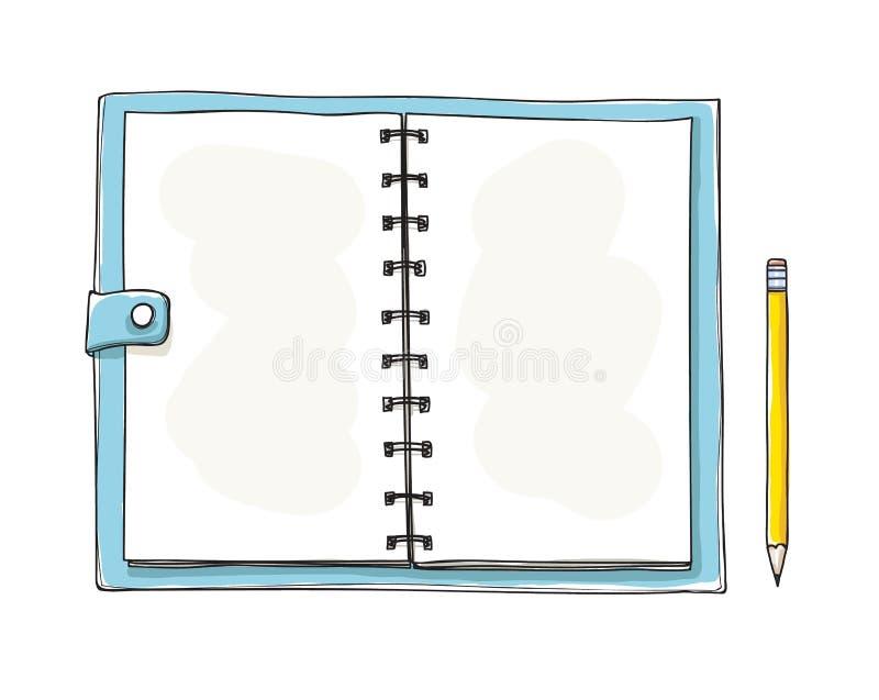 手拉被打开的笔记本 背景空白记事本白色 A 向量例证