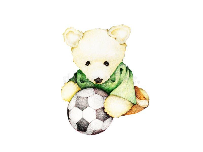 手拉踢足球的玩具熊 皇族释放例证