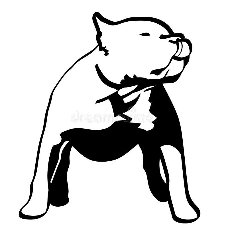 手拉Pitbull的狗,传染媒介,Eps,商标,象,由crafteroks的剪影例证为不同的使用 皇族释放例证