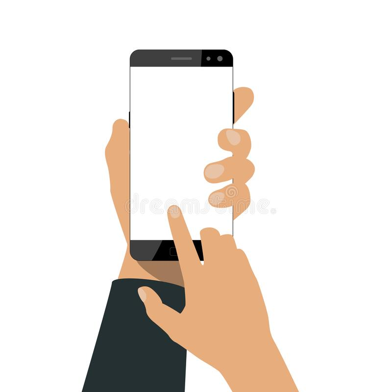 手拿着一个智能手机 向量例证
