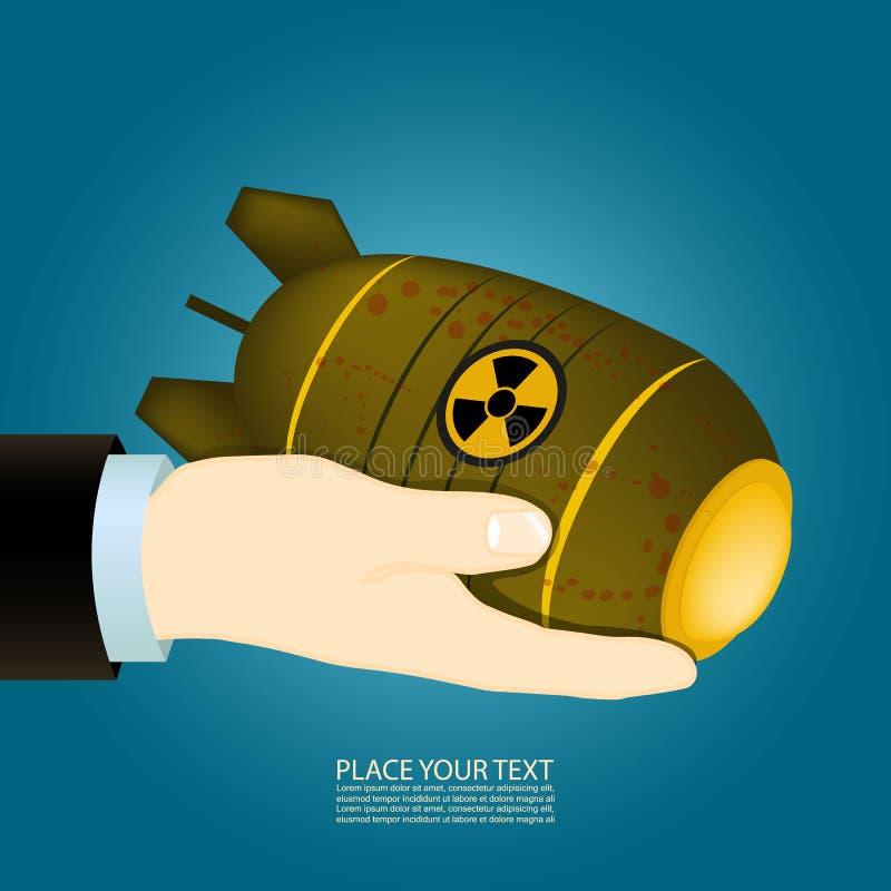 手拿着一个核弹 向量例证