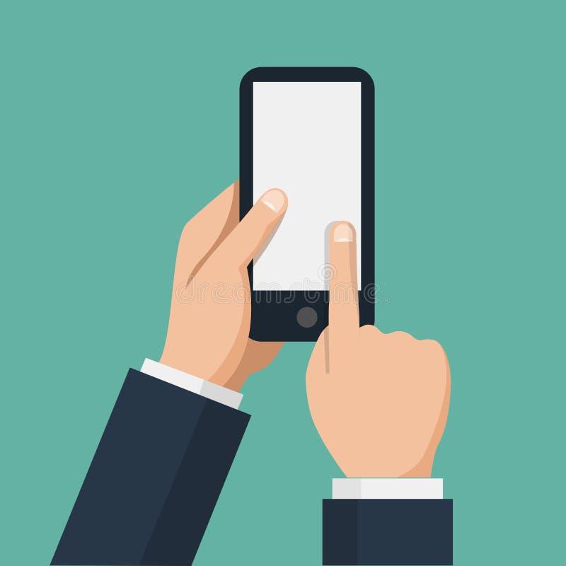 手拿着智能手机和手指触摸屏 向量例证