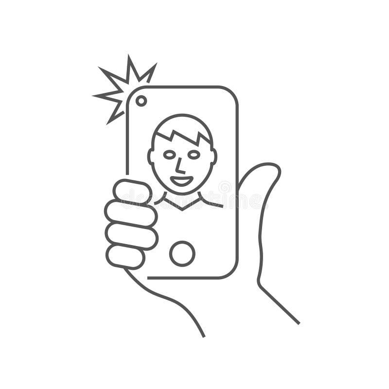手拿着智能手机,并且人采取selfie r 10 eps 向量例证