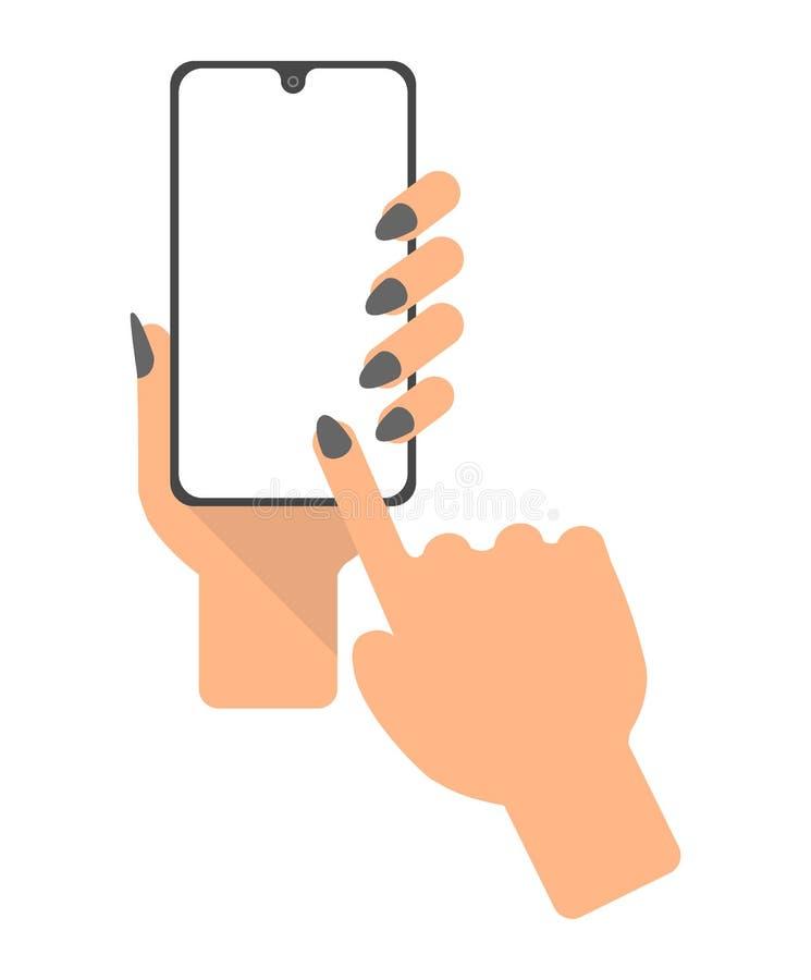 手拿着智能手机,手指触摸屏 人用途电话 平的设计观念 向量例证