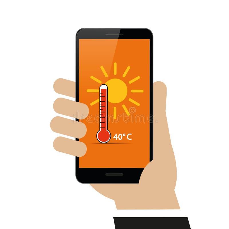 手拿着有夏天天气预报的智能手机40度关于显示 向量例证