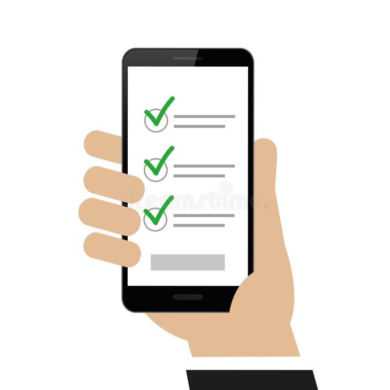手拿着有清单的智能手机 向量例证
