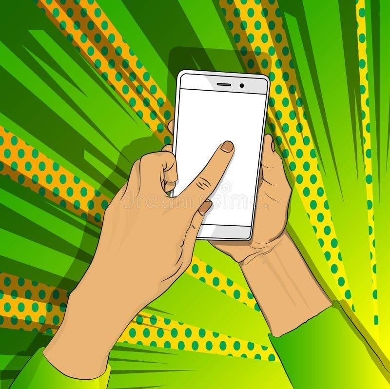 手拿着有白色屏幕的智能手机,并且手指接触显示 库存例证