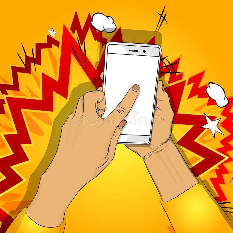 手拿着有白色屏幕的智能手机,并且手指接触显示 皇族释放例证