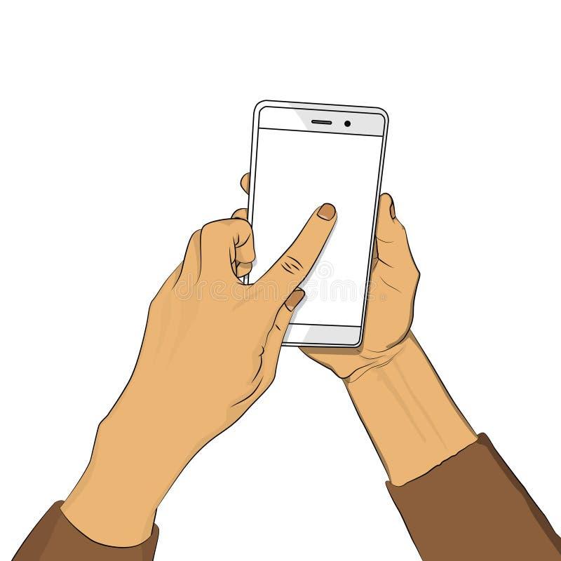 手拿着有白色屏幕的智能手机,并且手指接触显示 向量例证