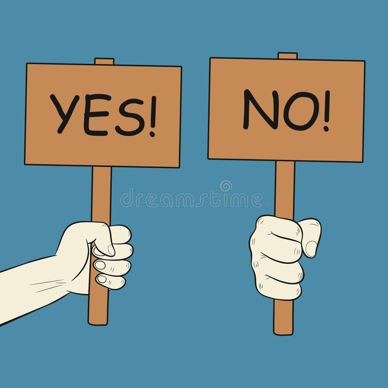 手拿着标志 有是和没有字法的板材 认同海报和抗议板 向量 向量例证