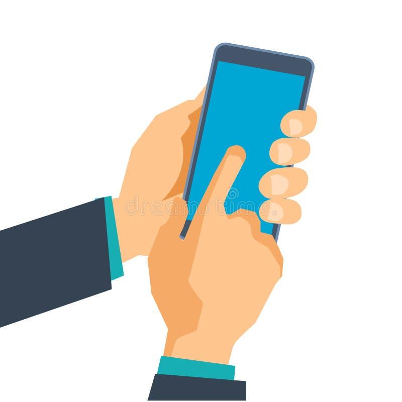 手拿着电话 在智能手机的软件 移动的应用 向量例证