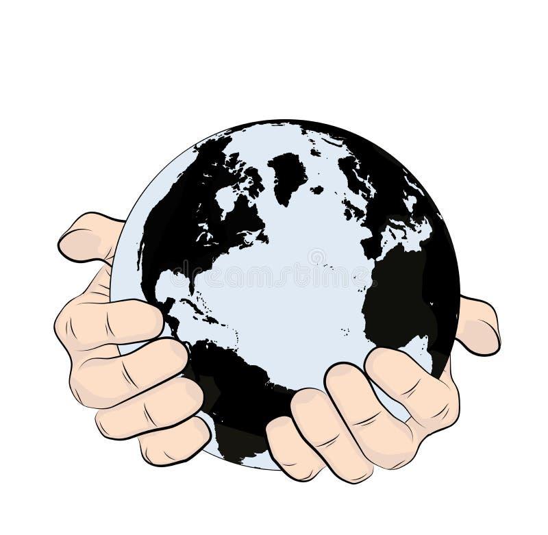手拿着行星地球 土地保护 ?? r 库存例证