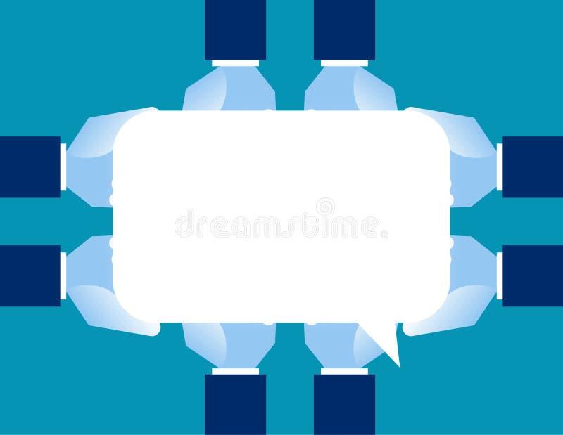 手拿着讲话泡影的小组 概念通信vecto 库存例证