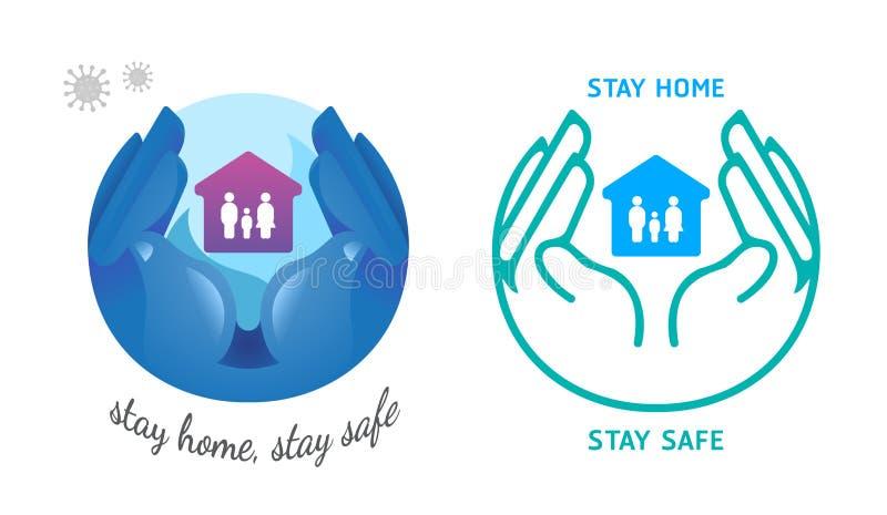 手持房保护家庭免受冠状病毒的侵害 平面设计,呆在家里,保持安全概念,在白色背景,矢量 皇族释放例证