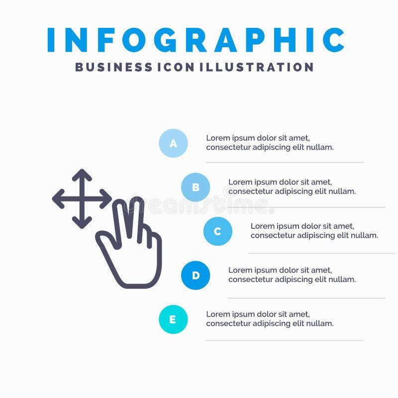 手指、手势、保持线图标,带5步演示信息图形背景 库存例证