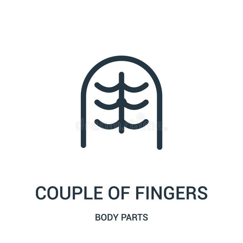 手指从身体局部汇集的象传染媒介夫妇  稀薄的线手指概述象传染媒介例证夫妇  库存例证