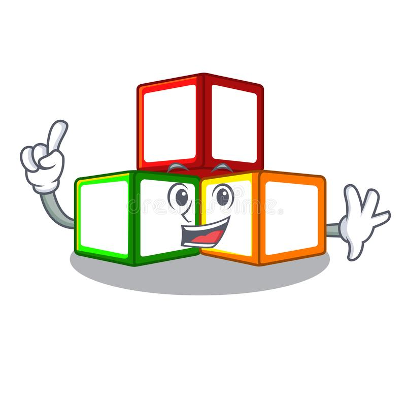 手指在立方体箱子吉祥人的玩具块 皇族释放例证