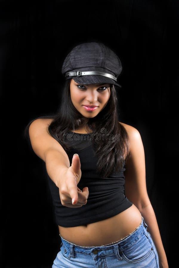 手指女孩指向 免版税库存照片