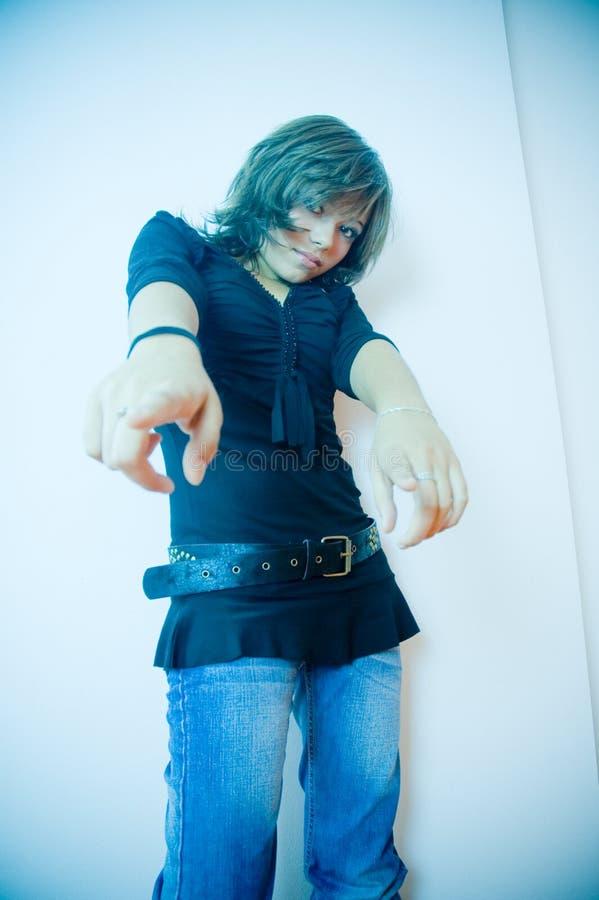 手指女孩指向 免版税图库摄影