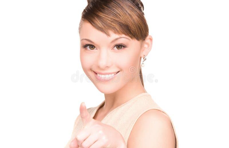 手指她的出头的女人 库存图片
