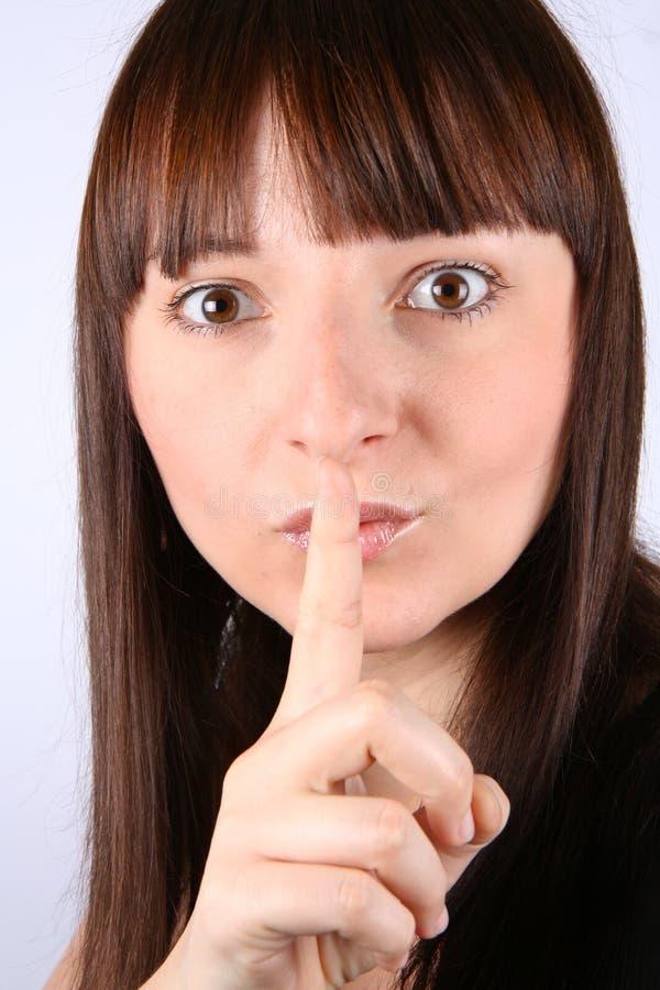 手指她的对妇女的藏品索引嘴唇 免版税图库摄影