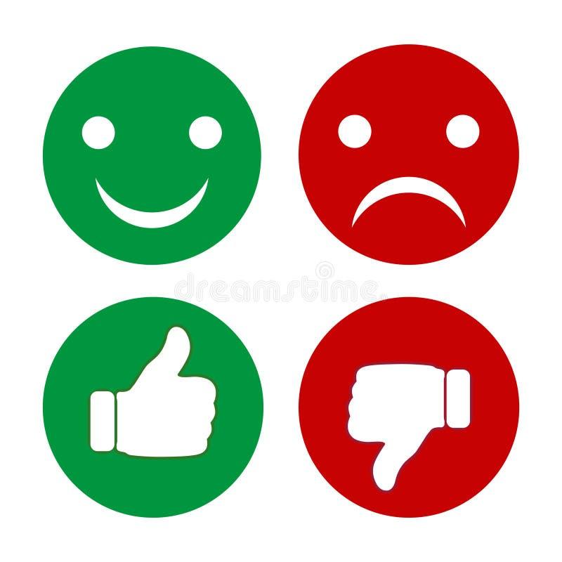手指情感尖和面带笑容  套绿色和红色按钮 向量例证