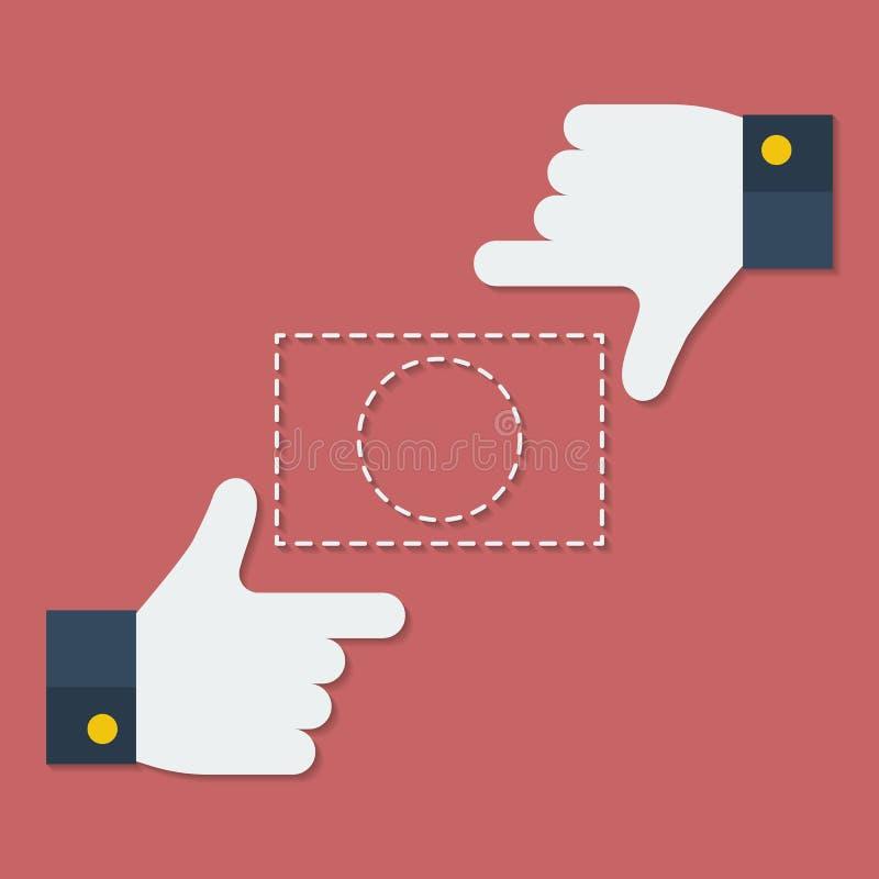 手指或手框架  平的样式 库存例证