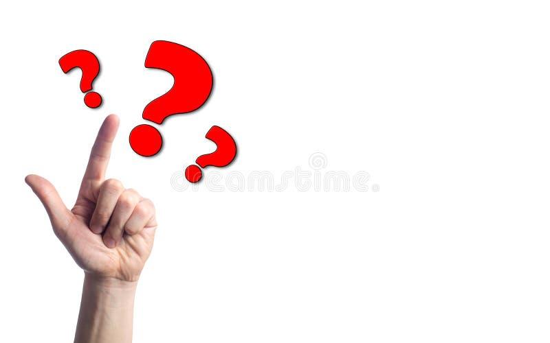 手指指向在白色被隔绝的背景的问号 问题的概念 选择的问题,对的答复ques 库存照片