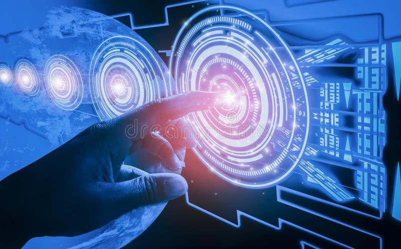 手指接触接口,介入非常现代未来派技术和设计,当创新人类,创造和开发 库存照片