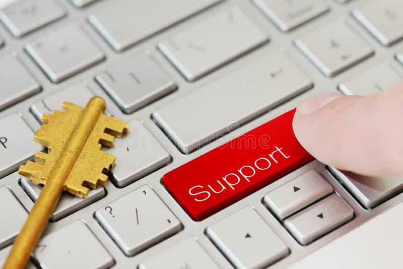 手指新闻一个按钮有在膝上型计算机键盘的文本支持 免版税图库摄影