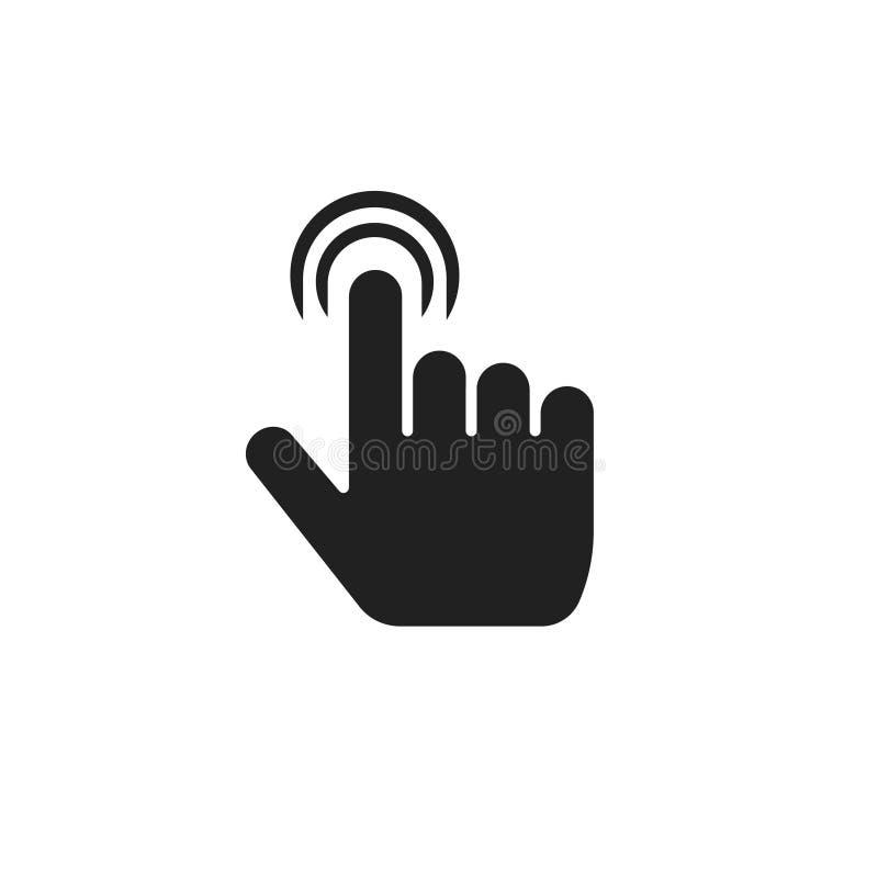 手指点击象传染媒介例证,接触标志被隔绝的标志,黑白图表clipart的平的索引拇指 库存例证