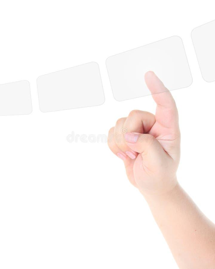 手指透明屏幕的接触 库存图片
