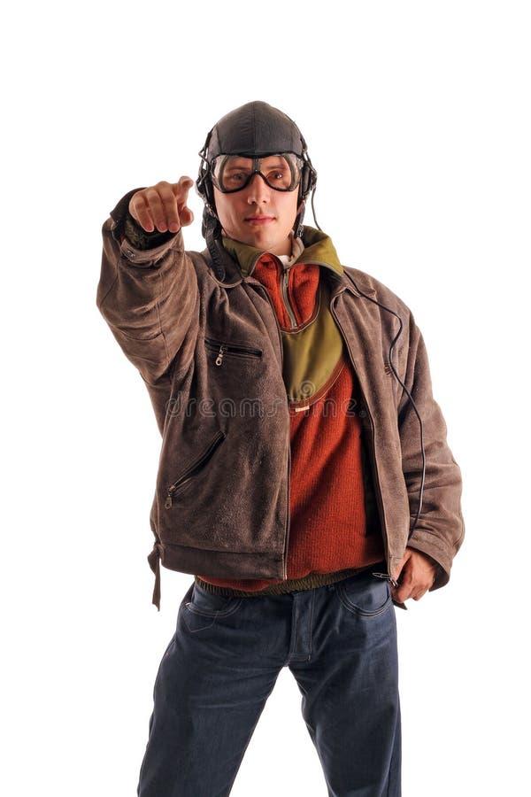 手指飞行员显示 免版税库存照片
