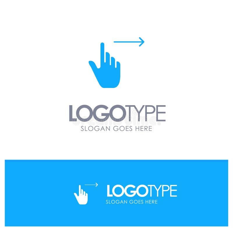 手指,姿态,权利,幻灯片,与地方的重击蓝色坚实商标口号的 向量例证