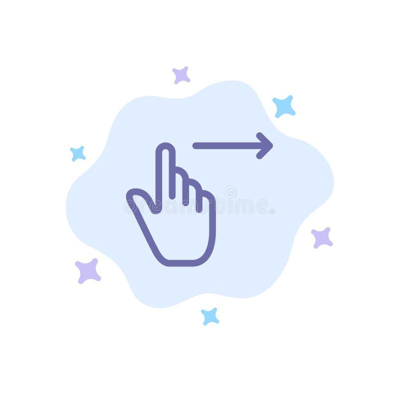 手指,姿态,权利,幻灯片,在抽象云彩背景的重击蓝色象 皇族释放例证