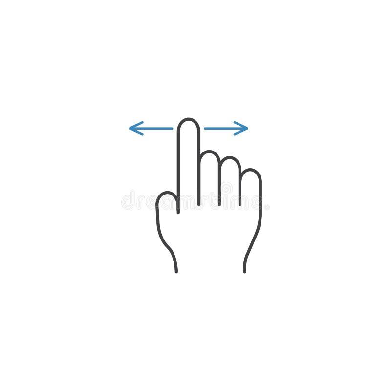 手指阻力线象、接触和手势 库存例证